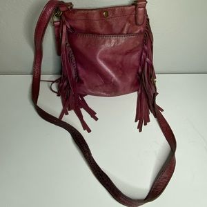 Lucky Brand Fringe Burgundy Maroon Leather Purse